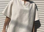 """男女とも使える""""コットンリネン""""透けにくいメンズTシャツ(オフホワイト・半袖)の画像"""
