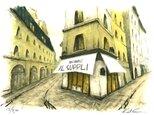 風景画 パリ 版画「パリ6区・キャトルヴァン通りのレストラン」の画像