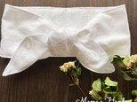 保冷剤 刺繍 ホワイト 白 花柄 綿100% 節約 快適 エコ 夏 スカーフ ネッククーラーの画像