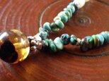 淡水パールとビルマ琥珀の数珠の画像