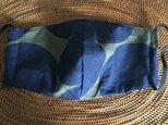 冷感生地使用夏用立体マスク デカ水玉布帛カーキ紺Lの画像