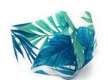 ハワイアン ファブリック ファッション・3Dマスク(扇型) ボタニカル ブルー Mサイズ[mfm3Q-214M]の画像