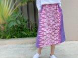 77㎝丈、草木染ミックス、手織絣綿のロングスカートの画像
