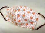 フィルターポケット付き♬夏マスク♪花柄オレンジの画像