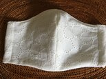 冷感生地使用夏用立体マスク 麻水玉レース柄布帛オフLの画像