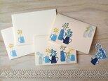 ◇t…様専用◇消しゴム版画 カードのセット(サクランボ、野の花、雨の風景の画像