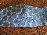 冷感生地使用夏用立体マスク ダンガリー水玉レース柄布帛ブルーLの画像