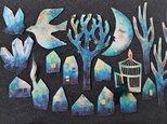 眠る三日月と星の木と鳥のガーランド 2本組の画像