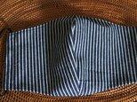 冷感生地使用夏用立体マスク デニムヒッコリー布帛紺×オフLの画像