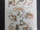 ギルディング和紙A3サイズ cats ネコ 生成和紙 黃混合箔の画像