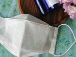 夏用 リネン 立体折り込み式マスク  薄地リネン フィルターポケットつきの画像