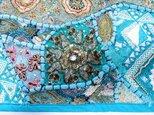 ★ビーズ刺繍タペストリー★パッチワーク★ブルー横長★テーブルセンターにもの画像