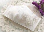 ♥♥白いジャガード織のパール付き花レース♥夏仕様ノーズワイヤー入り♥♥の画像