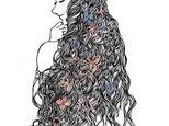額装済み切り絵作品・紫陽花姫の画像