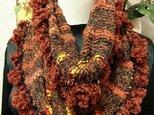 ♪花hana花♪メビウス編みストール♪ブラウンの画像