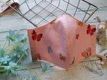 送料無料✴USAコットン、薄めのピンクに蝶柄の可憐なマスク✴の画像