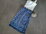 ★74㎝まで★伝統的な老舗のデザイン★紺x白抜き★綿100★巻きスカート風ギャザースカート★の画像