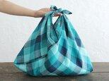 alinのあづま袋 M 50cm かごバッグに リネンあずま袋 マチ付き  (ブロックチェック/ターコイズ)の画像