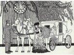 ペン画・原画「馬車と貴婦人」の画像