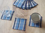 青い縞・かわいいサイズの裂き織りコースター3枚セット 木綿・手織りの画像