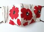 【布マスク】大人用 耳が痛くない 大きめ 息がしやすい 北欧柄 花柄 白×赤&グレー(マーブル)の画像