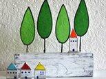 ステンドグラスの小さなお家 オレンジの屋根の塔の画像