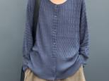 秋 無地ラウンドネック長袖セーター カーディガンセーターコート コットン  レディース シャツ  ゆるいの画像