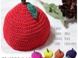 【手編み*くだもの帽子】272…出産祝い リンクコーデ チェリー レモン オレンジ ぶどう りんご ピーチの画像