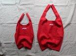 大サイズ・布製レジ袋♡シンプル仕様♡赤リネン・71cm×34cmマチ18cm・エコバック・使い勝手◎の画像