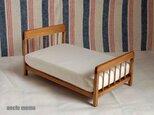 ドール用ベッド ダブル(色:チェスナット) 1/12ミニチュア家具の画像