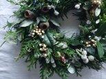 受注製作:グリーンベースのクリスマスリースの画像