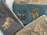 大きめマルチポーチ フワリ刺繍トイプー 8号バイオウォッシュ帆布の画像
