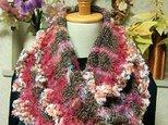 ♪花hana花♪ラブリーメビウス編みストール♪グレーピンクの画像