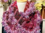 ♪花hana花♪ラブリーメビウス編みストール♪ピンクレッドの画像