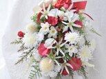スワッグ 寿ぎ 2020 紅白:水仙 デージー スイトピー 赤 白 小枝の画像
