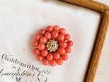 【数量限定・ブローチ】天然色 オレンジ赤 珊瑚 朱色 レトロ お花の画像