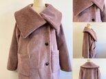 セール価格★ふわふわあったか❤️フェイクファーのBIG襟のコート スモーキーピンク(サイズフリー L〜L L)の画像