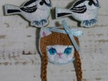 【オーダー品】日本の小鳥・エナガ&猫の女の子おさげの画像