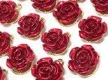 赤い薔薇チャーム 6個【バラの花パーツ ピアス ハンドメイド素材】の画像