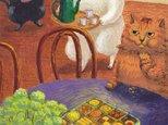カマノレイコ オリジナル猫ポストカード「缶入りクッキー」2枚セットの画像