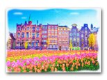 「春気分のしあわせ」ヨーロッパ 春 チューリップ ほっこり癒しのイラストポストカード2枚組 No.1272の画像