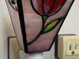 「おやすみランプ・花・赤」ステンドグラスランプ フットランプの画像
