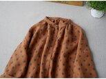 上質リネン100%総刺繍ポケット付大人可愛い長袖ワンピース♪【レンガオレンジ】の画像