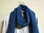 Sale 手織りマフラー 綾織 緑・青の画像