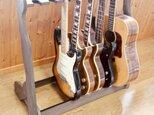 【24時間以内に発送】手作り木工 ギタースタンド (チーク) 7本掛けの画像