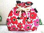 リネンの赤い花 巾着袋の画像