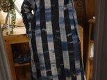 藍染久留米絣襟付きワンピースの画像