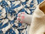 にゃん密 猫の手ハンカチ(藍色系)の画像