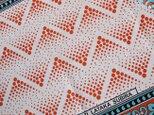 アフリカ布『カンガ』オレンジ × ホワイト ドットの画像