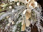 星月猫★「ココフラワーとユーカリ、レースファンの大きなスワッグ」ドライフラワー ブーケ 花束 の画像